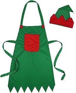 Aiihoo Women Girls Christmas Elves Apron Costume Santa Hat Holiday Dinner Party Supplies Fancy Dress