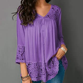 QGTCLOTHING Lace Stitching Shirt V-neck Cropped Sleeve T-shirt, Size:S(White) (Color : Purple, Size : 5XL)