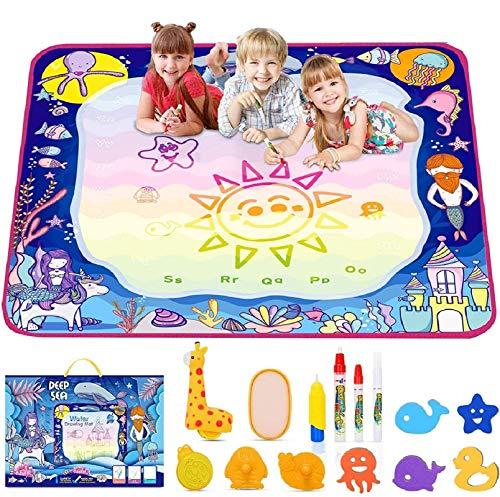 lenbest Oceano Acqua Tappeto Doodle 100 x 100cm, Super Grande Doodle Tappeto Magico con 14 Colori Arcobaleno - Set di Rulli Unico - Regalo Giocattolo Educativo per Bambino - età 3+ Anni