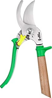 Opinel Hand Pruning Shears with non-slip beech wood handle perfect for bypass trimmers, garden, hedge, lawn clippers or hand scissors with stainless steel blade (Green)
