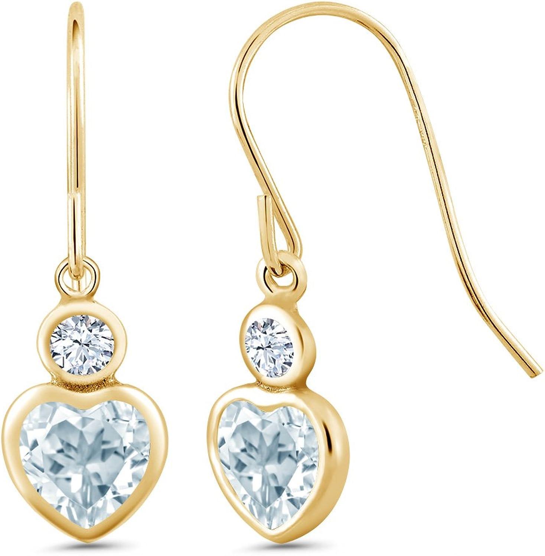 1.34 Ct Heart Shape Sky bluee Topaz 14K Yellow gold Earrings