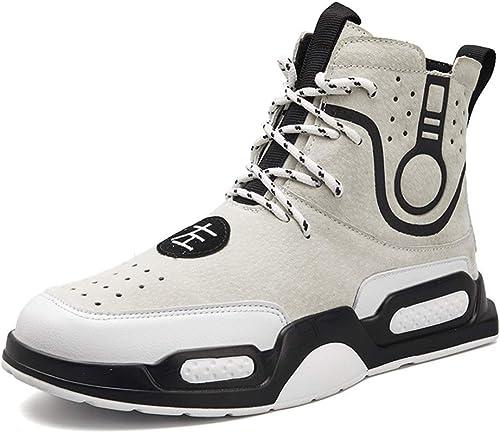 YAN Chaussures pour Hommes Chaussures de Sport à Manches Longues Chaussures de Course à Pied en Microfibre rue Sport de plein air Indoor (Couleur   Blanc, Taille   41)