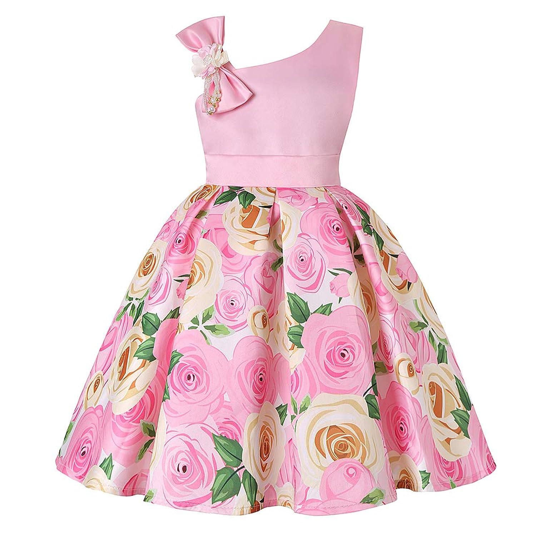 ガールズドレス 女の子ドレス ワンピース お宮参り 入園式 結婚式 卒業式 バラプリント 肩を出す