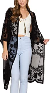 Women's Summer Casual Hollow Out Cotton Beach Dress Lace Kimono Cardigan Cover Up