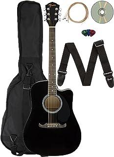 Fender FA-125CE Dreadnought Cutaway Acoustic-Electric Guitar - Black Bundle with Gig Bag, Strap, Strings, Picks, Fender Pl...