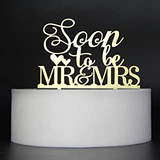 LOVELY BITON Gold Soon to Be Mr&Mrs Cake Topper Shining Numbers Letters for Wedding, Birthday, Anniversary, Party.