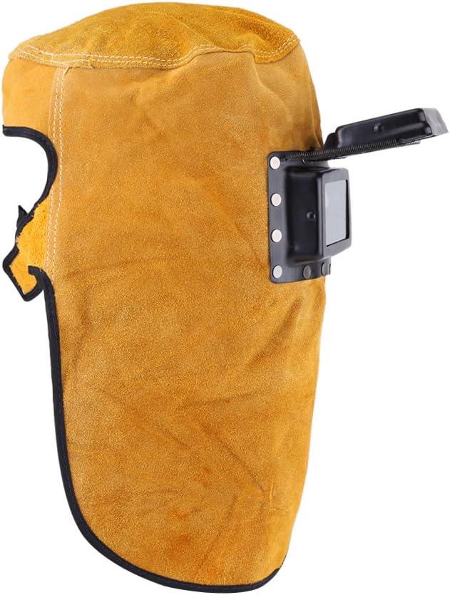 LANTRO JS - Mascara soldadura automática, cuero máscara de soldar con capucha, Mascarilla de casco de soldadura transpirable con lente, Máscara de protección del casco de la soldadura