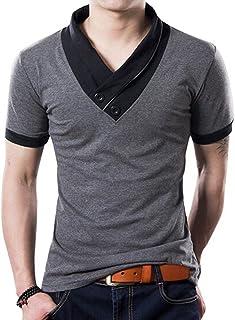 L'ASHER Men Summer Fashion Button V Neck Slim Muscle Tops Tee T Shirt Long Short Sleeve
