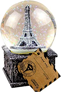 Mobestech Crystal Ball Music Box Vintage Eiffel Tower Snowflake Music Box for Kids Christmas New Year Gifts