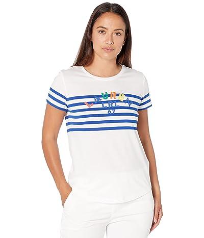 LAUREN Ralph Lauren Petite Striped Logo Jersey Tee