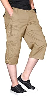 Men's Casual Cotton 3/4 Pants Elastic Waistband Shorts Loose Fit Knee-Length Cargo Shorts