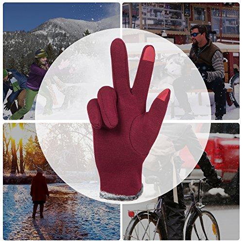 GLOUE Warm Winter Handschuhe Damen Touchscreen Handschuhe Kaschmir Drinnen Draußen Fahrradhandschuhe Motorradhandschuhe Mountainbike Handschuhe - 7