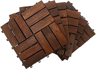 YATAI Wooden Floor Tiles, 31x31x3cm, Wood Decking Tiles, Floor Tiles, Office Floor Tiles, Home Floor Tiles, Diy Tiles, Gar...