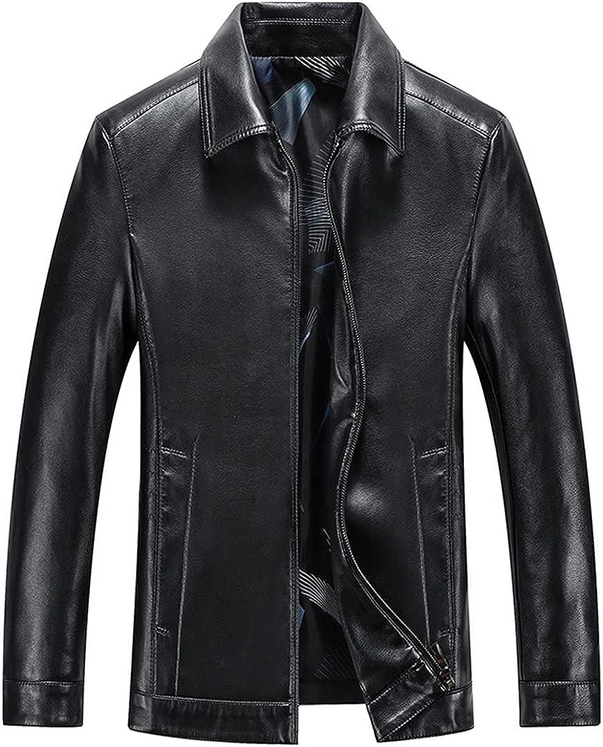 Men Genuine Leather Jacket Business Casual Skin Turndown Coat Black Men Biker Leather Jacket