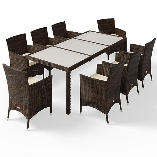 Salon De Jardin 17pcs En Polyrotin   Rattan Garden Furniture Dining Set  Outdoor Patio Rectangular Glass