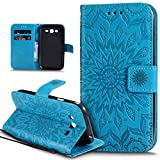 Coque Galaxy Grand Neo,Etui Grand Neo Plus,Embosser Gaufrage fleur soleil Housse Cuir PU Housse Etui Coque Portefeuille Protection...