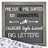 Gray Felt Letter Board 10x10 inches Letter Board, Pre Cut & Sorted 725 White & Black Letters, Cursive style letters, Big letters, Letter Organizer, Picture Hangers, Wall Mount.