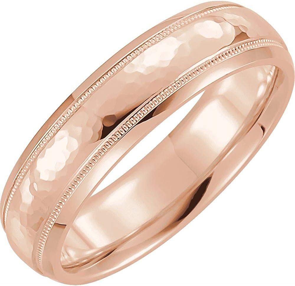 Solid 10k Rose Gold 2mm Wedding a Hammered Comfort Directly managed store Band Fit Ring overseas