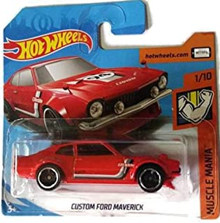 Hot Wheels Muscle Mania 1/10 - Red Custom Ford Maverick on Short Card