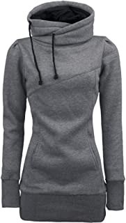 Womens Long Sleeve Pullover Funnel Neck Vintage Corn Tunic Sweater Hoodie