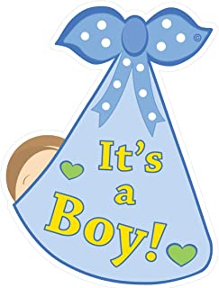 Cute News It's a Boy Stork Baby Door Sign - Welcome Home Newborn Birth Announcement Decoration Hanger - Blue