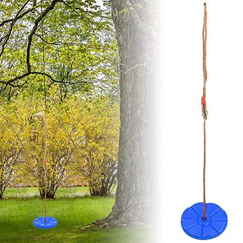 Alomejor Kinderscheibe Schaukel Outdoor Indoor Schaukel Plastikscheibe Kletterschaukelfür Gartenspielplatz Camping Spielzeug(Blau)