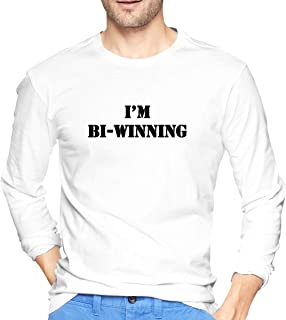 Mens I'm BI-Winning Sarcastic Humor Funny Long-Sleeve T-Shirts