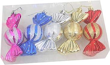 5 Pcs Xmas Ornament 10cm Plastic Candy Shape Pendant Baubles Christmas Tree Decoration