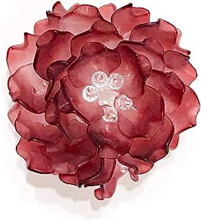 【完成品】フラワーティーライト・ワインレッド プレゼント 贈り物 記念日 バースデー テーブルセッティング ベッドサイド 明かり 照明 (Red)