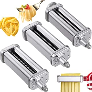 2 Pcs Pasta Cutter & 1 Pcs Roller Attachments for KitchenAid Stand Mixers, Food Grade Stainless Steel Pasta Sheet Roller, Spaghetti & Fettuccine Cutter Maker Accessories