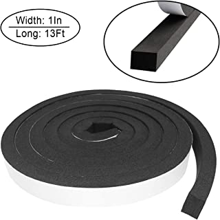 Foam Insulation Tape self Adhesive,Weather Stripping for Doors and Windows,Sound Proof soundproofing Door Seal,Weatherstrip,Cooling, Air Conditioning Seal Strip (1In x 3/4In x 13Ft, Black)