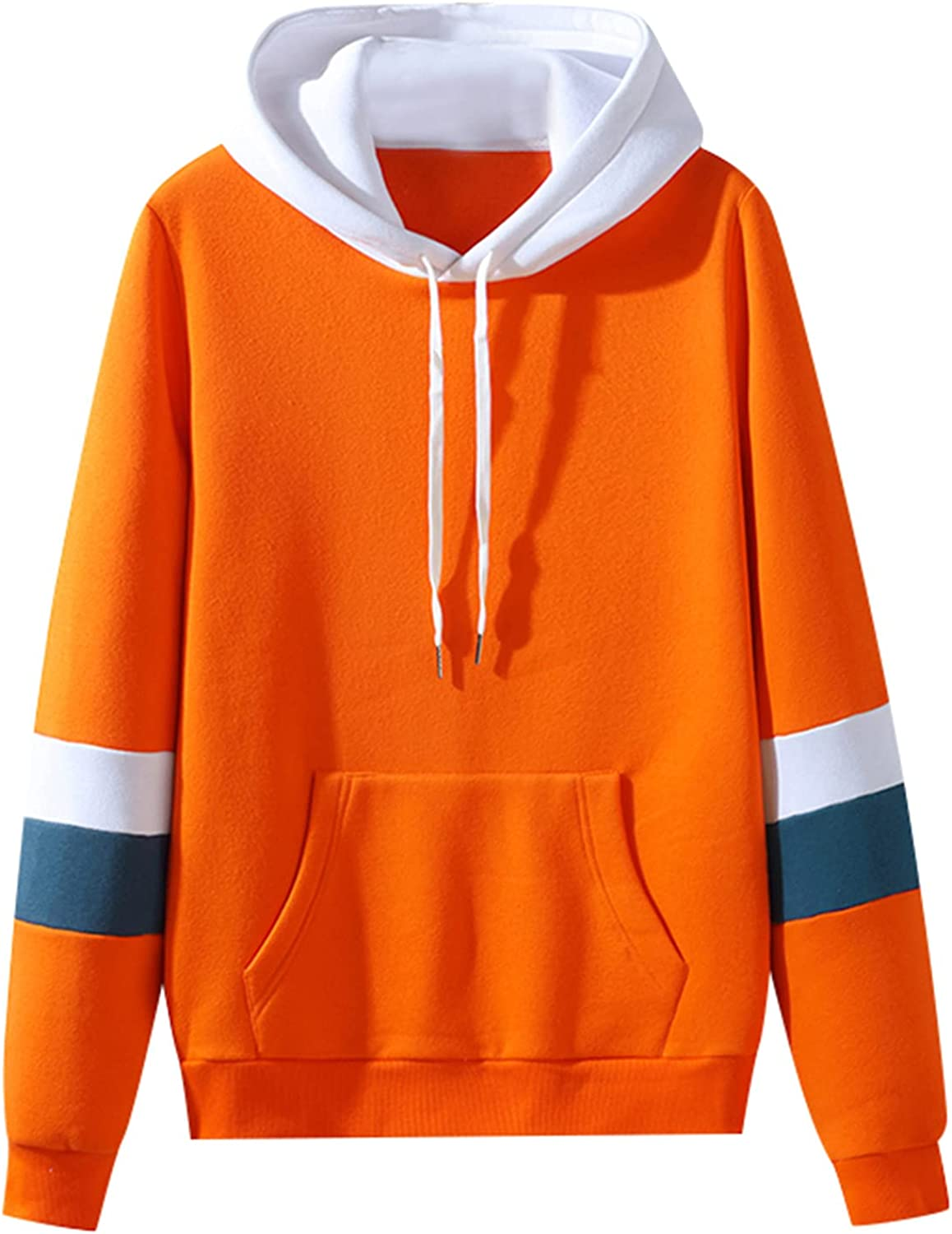 Huangse Men's Autumn Sweatshirt with Hood Casual Sports Jacket Sweater Fashion Patchwork Sports Long Sleeves Outdoor Coat