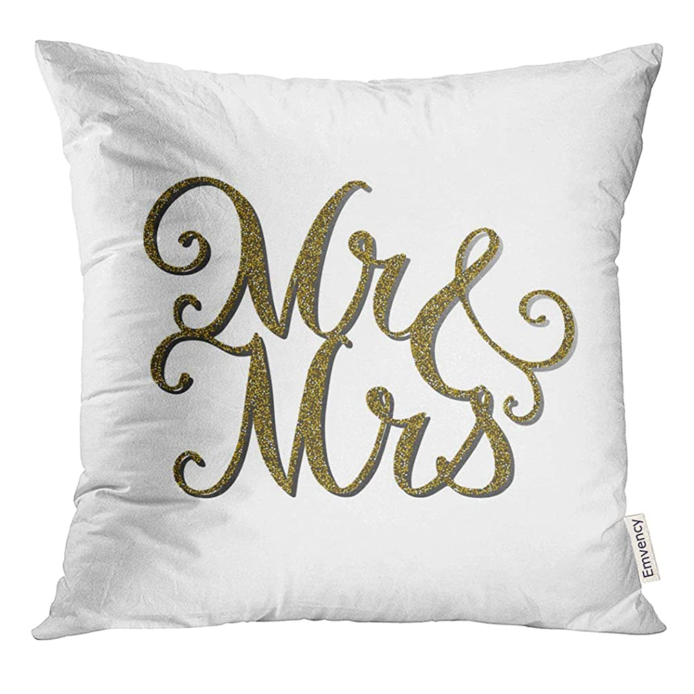 UPOOS Throw Pillow Cover Words 'Mr Mrs' with Gold Glitter Effect Unique Wedding Romantic Silhouette Is Suitable for Engraving Decorative Pillow Case Home Decor Square 18x18 Inches Pillowcase