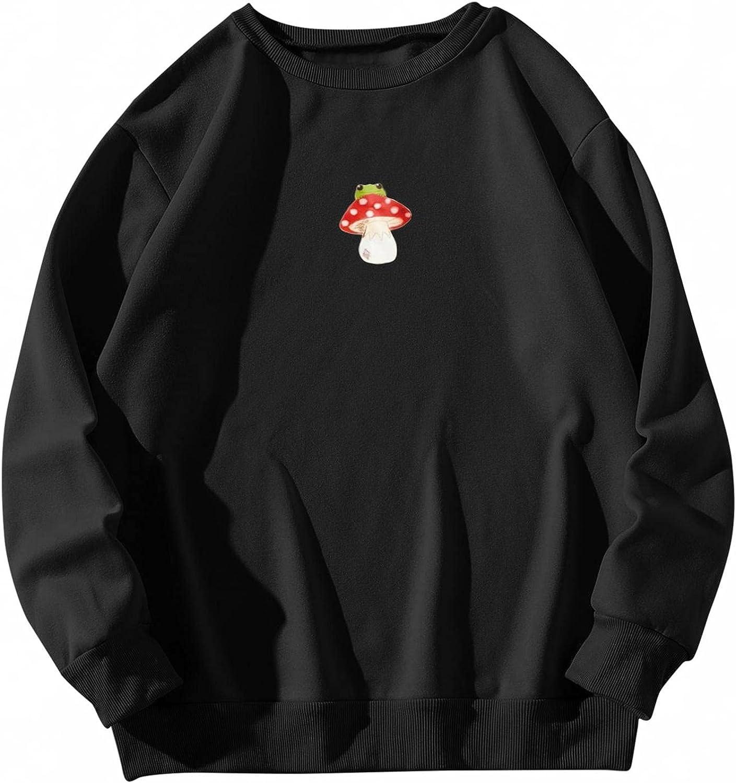 MASZONE Crewneck Sweatshirts for Women Vintage Crewneck Sun Print Long Sleeves Pullover Casual Loose Shirt Blouses Tops