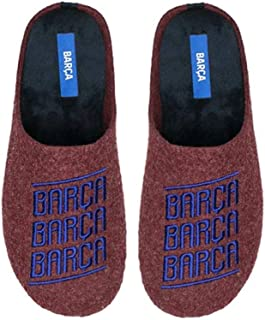 Zapatillas FC Barcelona Rojo Barça Letras Zapatillas de Estar por casa Hombre Invierno Otoño