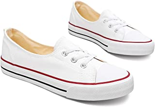 Women's Fashion Sneakers Low-top Canvas Lace Up Slip-on...