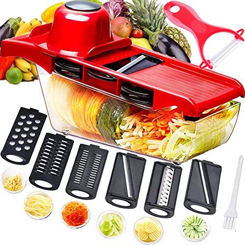 Mandolina cortadora multifuncional,cortador de verduras,trituradora de alimentos,picadora rallador,6 cuchillas afiladas de acero inoxidable intercambiables con pelador,cortador para patatas,tomates