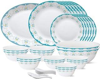 Larah by Borosil - Tiara Series, Royal Jade, 33 Pcs, Opalware Dinner Set, White