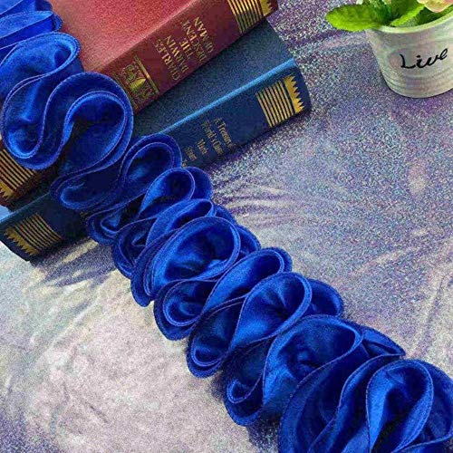 TTYAC 2 Yards Lace Ribbon 3D chiffon bloem kant Edge trim stof naaien handwerk voor kostuum trouwjurk ruches kleding DIY decoratie donkerblauw
