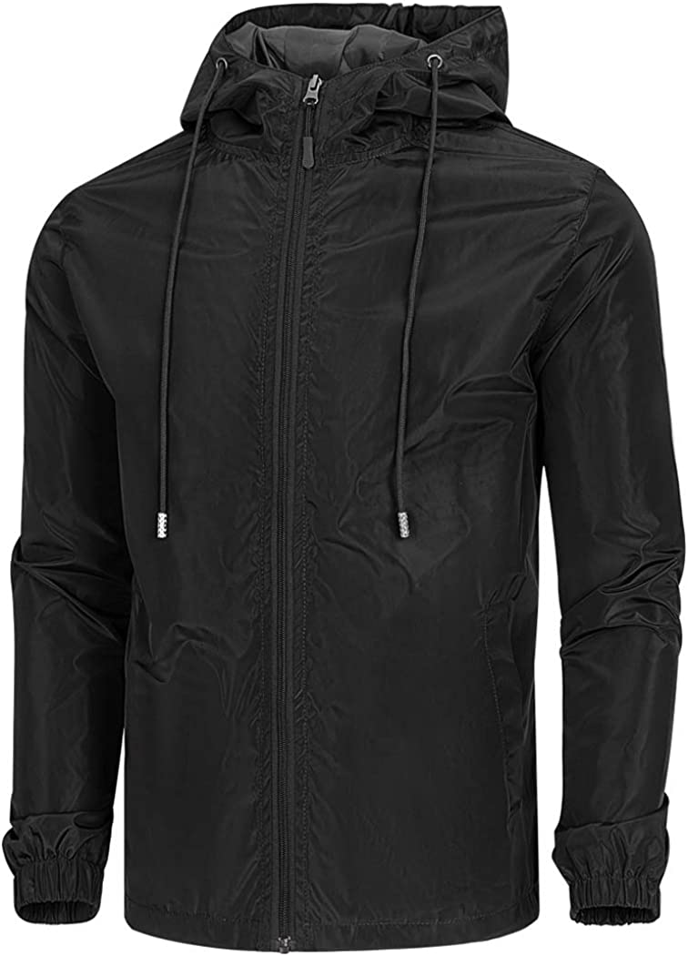 WULFUL Men's Lightweight Windbreaker Jacket Waterproof Hooded Outdoor Jackets Rain Jacket Coats