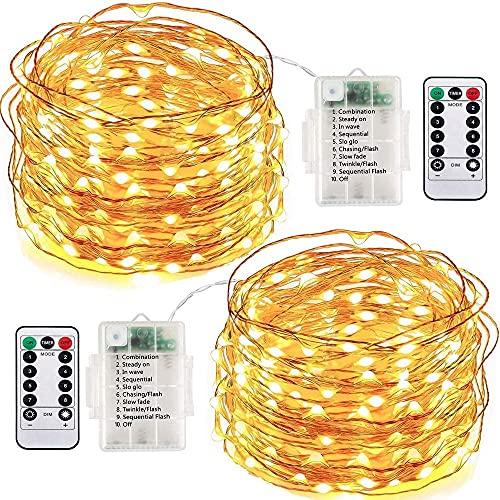 MONTA 10 m 100 LED jardín corredor decoración impermeable cobre cadena luz control remoto batería Garland luces hadas para Navidad Año Nuevo decoración