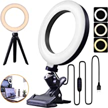 "6.3"" LED Ring Light for Video Recording with Tripod & Clamp, Computer Ring Light Shooting with 3 Light Modes & 10 Brightne..."