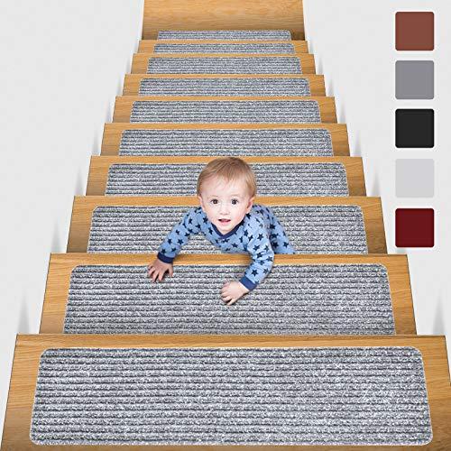 MBIGM 15er Set Stufenmatten 20 cm X 76 cm Treppenteppich Selbstklebend Sicherheit Stufenteppich für Kinder, Älteste und Haustiere, HellGrau
