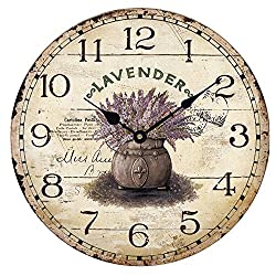 Wood Wall Clock 12Vintage French Country Print Lavender in Tin Romantic Shabby Chic Large Decorative Roman Numerals Analog Battery Operated Silent for Home Decoration