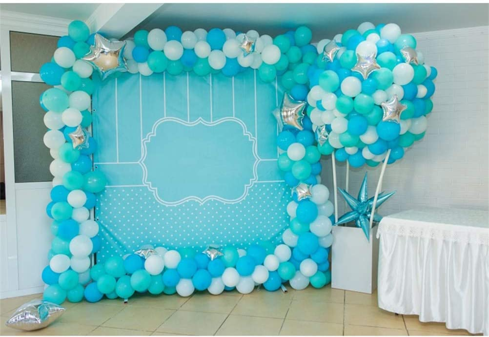 Laeacco 8x6.5ft Indoor Free shipping Blue Tone Birthday Photo Max 65% OFF Ball Booth Party