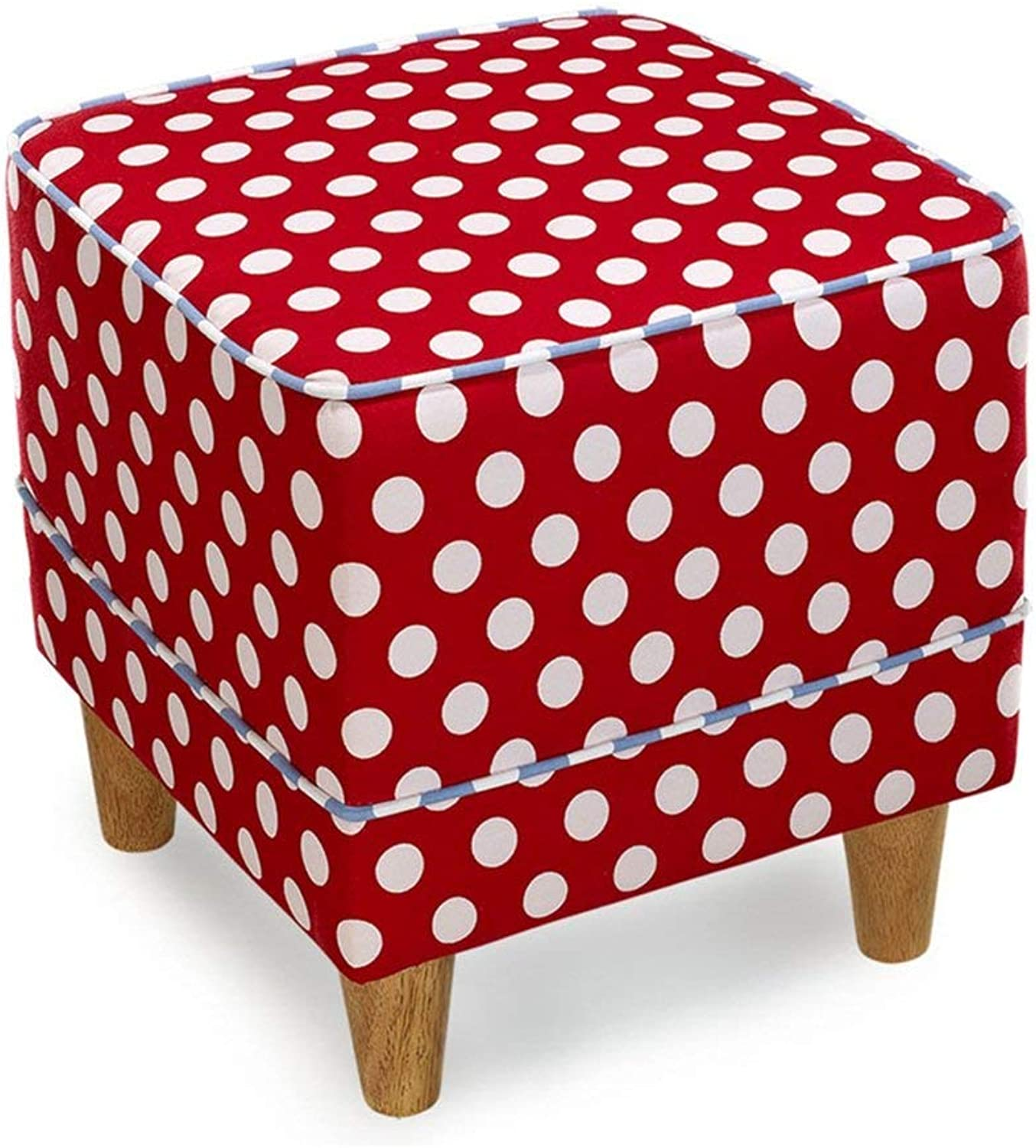 Comfortable Lounge Chair Solid Wood Fabric Stool, Simple Modern Living Room Sofa Bench (color   RED) (color   Red)