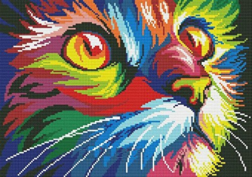 Colorful Cat in Dark Counted Cross Stitch Kits, Egyptian Cotton Counted Cross...