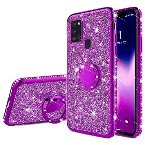 Kompatibel mit Samsung Galaxy A21S Hülle Glitzer Glänzend Kristall Strass Diamant Handyhülle mit Ring Ständer Ultra Dünn Überzug Weiches TPU Silikon Stoßfest Schutzhülle Case für Galaxy A21S,Lila