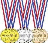 24 Pièces Médailles du Gagnant Enfant en Plastique Or Argent Bronze Gagnant des Médailles pour Les Décorations de Fête Faveur