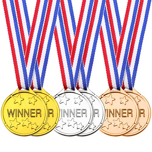 24 Stücke Kinder Gewinner Medaillen Kunststoff Gold Silber Bronze Gewinner Vergeben Medaillen für Party Favor Dekorationen Auszeichnungen